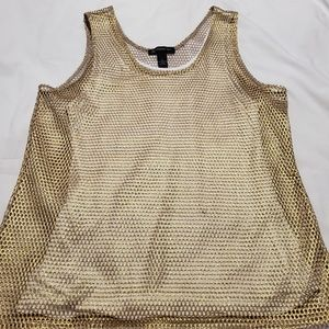 Gold and white mesh top